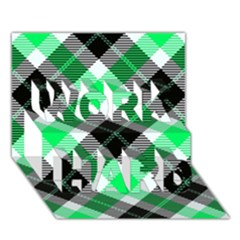 Smart Plaid Green Work Hard 3d Greeting Card (7x5)