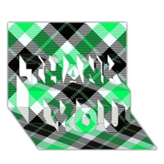 Smart Plaid Green Thank You 3d Greeting Card (7x5)