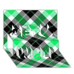 Smart Plaid Green Get Well 3D Greeting Card (7x5)