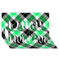 Smart Plaid Green Laugh Live Love 3D Greeting Card (8x4)