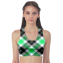 Smart Plaid Green Sports Bra