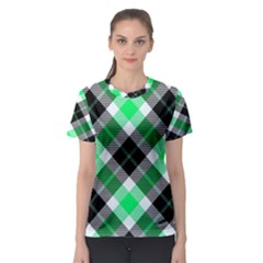 Smart Plaid Green Women s Sport Mesh Tees
