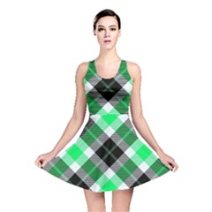 Smart Plaid Green Reversible Skater Dresses