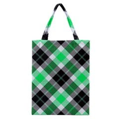 Smart Plaid Green Classic Tote Bags