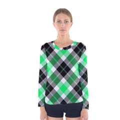Smart Plaid Green Women s Long Sleeve T-shirts
