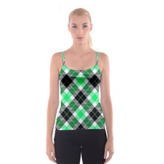 Smart Plaid Green Spaghetti Strap Tops