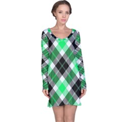 Smart Plaid Green Long Sleeve Nightdresses
