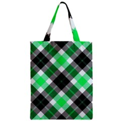 Smart Plaid Green Zipper Classic Tote Bags