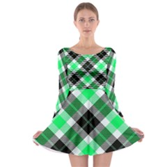 Smart Plaid Green Long Sleeve Skater Dress