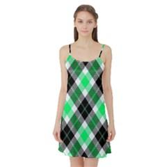 Smart Plaid Green Satin Night Slip