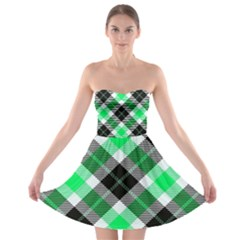Smart Plaid Green Strapless Bra Top Dress