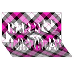 Smart Plaid Hot Pink Happy Birthday 3D Greeting Card (8x4)