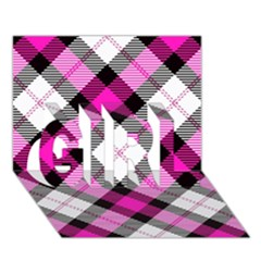 Smart Plaid Hot Pink GIRL 3D Greeting Card (7x5)