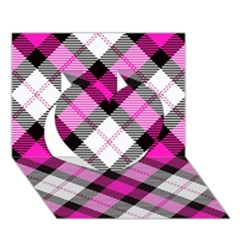 Smart Plaid Hot Pink Heart 3d Greeting Card (7x5)