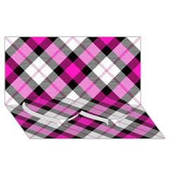 Smart Plaid Hot Pink Twin Heart Bottom 3D Greeting Card (8x4)