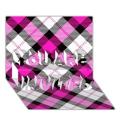 Smart Plaid Hot Pink You Are Invited 3d Greeting Card (7x5)