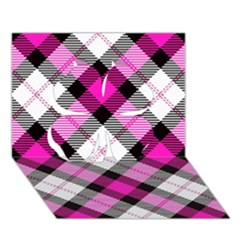 Smart Plaid Hot Pink Clover 3d Greeting Card (7x5)