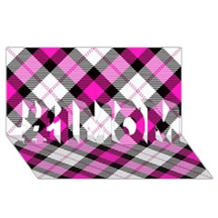 Smart Plaid Hot Pink #1 MOM 3D Greeting Cards (8x4)