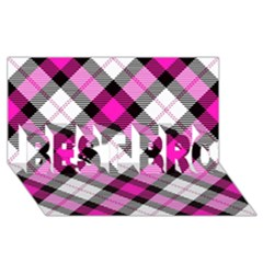 Smart Plaid Hot Pink BEST BRO 3D Greeting Card (8x4)