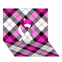 Smart Plaid Hot Pink Ribbon 3D Greeting Card (7x5)