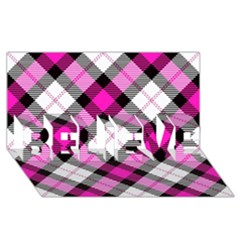 Smart Plaid Hot Pink Believe 3d Greeting Card (8x4)