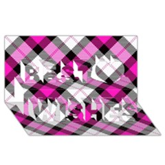 Smart Plaid Hot Pink Best Wish 3d Greeting Card (8x4)