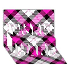 Smart Plaid Hot Pink WORK HARD 3D Greeting Card (7x5)