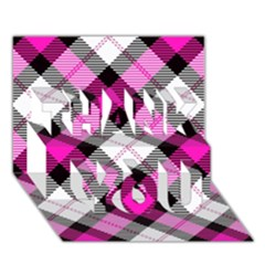 Smart Plaid Hot Pink THANK YOU 3D Greeting Card (7x5)