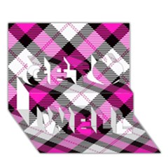 Smart Plaid Hot Pink Get Well 3d Greeting Card (7x5)