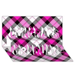 Smart Plaid Hot Pink Congrats Graduate 3D Greeting Card (8x4)