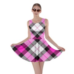 Smart Plaid Hot Pink Skater Dresses
