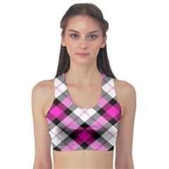 Smart Plaid Hot Pink Sports Bra