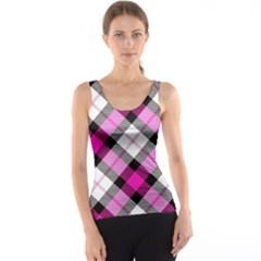 Smart Plaid Hot Pink Tank Tops
