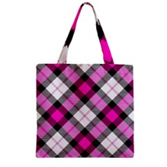 Smart Plaid Hot Pink Zipper Grocery Tote Bags