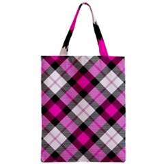 Smart Plaid Hot Pink Zipper Classic Tote Bags