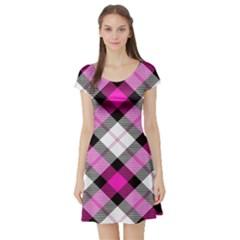 Smart Plaid Hot Pink Short Sleeve Skater Dresses