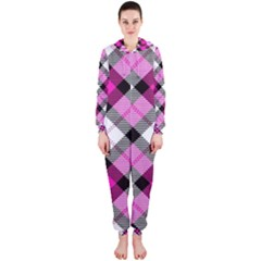 Smart Plaid Hot Pink Hooded Jumpsuit (Ladies)