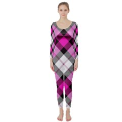 Smart Plaid Hot Pink Long Sleeve Catsuit
