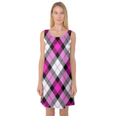 Smart Plaid Hot Pink Sleeveless Satin Nightdresses