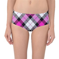 Smart Plaid Hot Pink Mid-Waist Bikini Bottoms