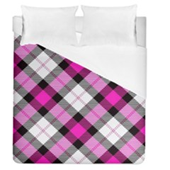 Smart Plaid Hot Pink Duvet Cover Single Side (full/queen Size)