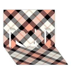 Smart Plaid Peach I Love You 3d Greeting Card (7x5)