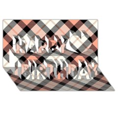 Smart Plaid Peach Happy Birthday 3D Greeting Card (8x4)