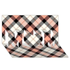 Smart Plaid Peach Mom 3d Greeting Card (8x4)