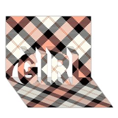 Smart Plaid Peach Girl 3d Greeting Card (7x5)