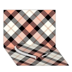 Smart Plaid Peach Heart Bottom 3D Greeting Card (7x5)