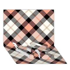 Smart Plaid Peach Love Bottom 3d Greeting Card (7x5)