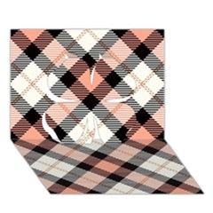 Smart Plaid Peach Clover 3d Greeting Card (7x5)
