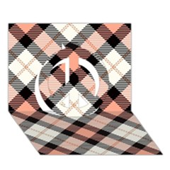 Smart Plaid Peach Peace Sign 3D Greeting Card (7x5)