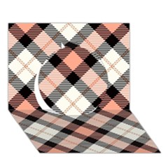 Smart Plaid Peach Circle 3d Greeting Card (7x5)
